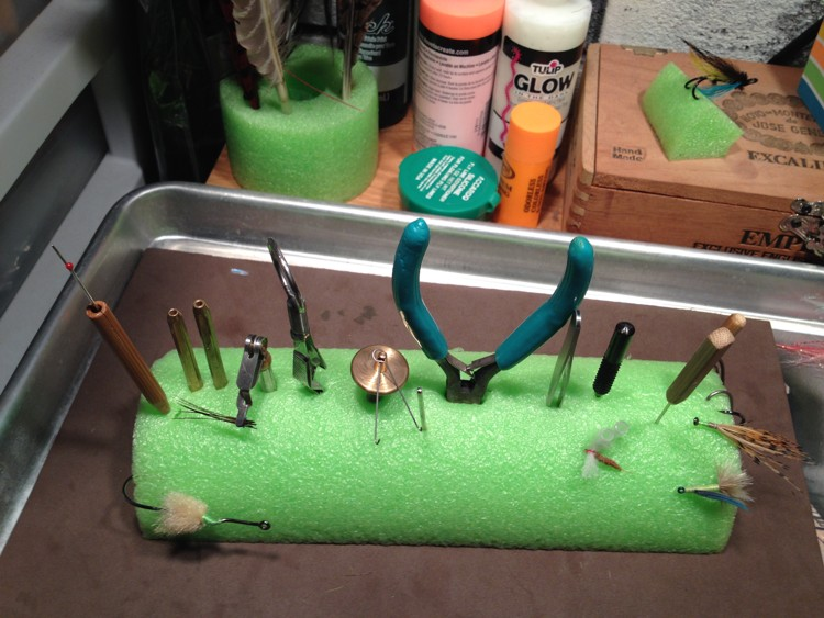 Fly tying desk the tangled fly for Wade fishing caddy